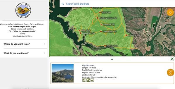 NOUVELLES AVENTURES Les résidents du comté de SLO peuvent explorer les sentiers que le comté a à offrir, tels que High Mountain dans le comté du Sud, via le site Web des parcs et loisirs du comté de SLO.  - SCREENSHOT DE SLOCOUNTYPARKS.COM