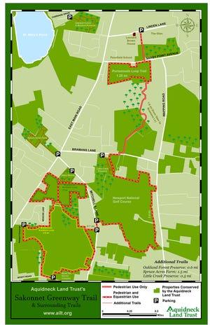Carte du sentier Sakonnet Greenway à Portsmouth.