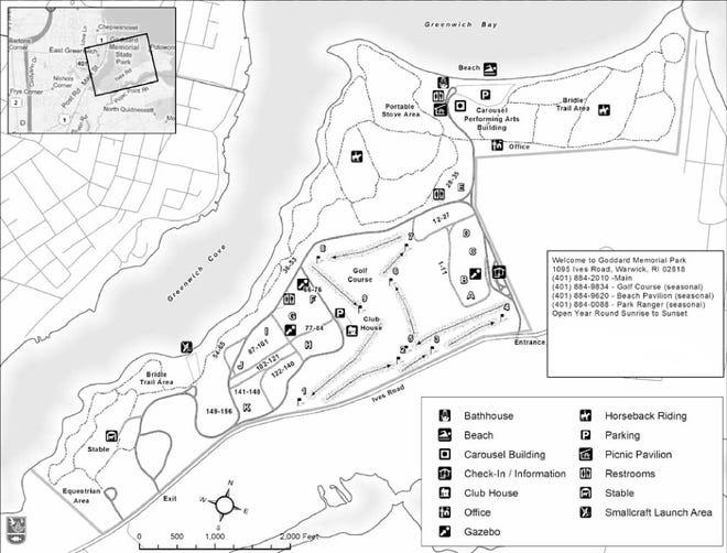 Une carte des sentiers pour Goddard Memorial Park à Warwick.