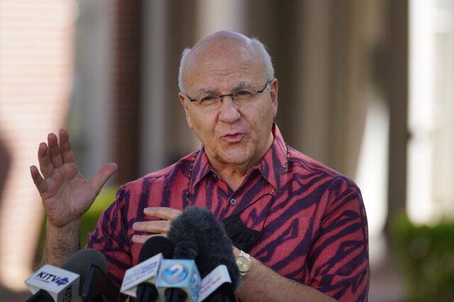 Le maire Rick Blangiardi donne sa première conférence de presse à l'extérieur de Honolulu Hale.  14 janvier 2021.