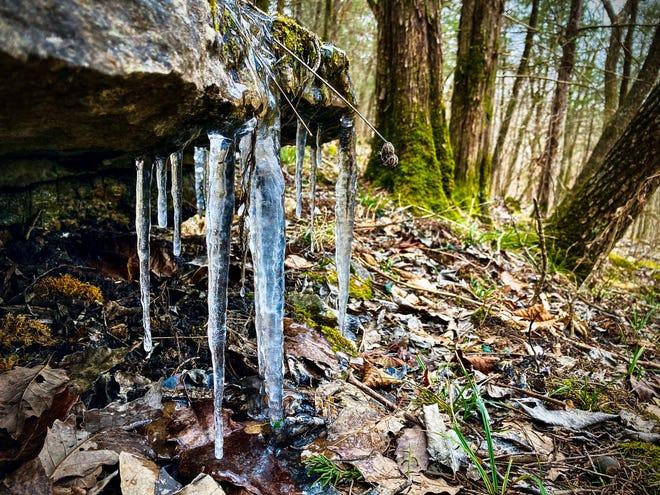 Des glaçons se forment sur un rocher le long d'un sentier de la forêt d'État et de la réserve faunique de Busiek le 7 février 2021.