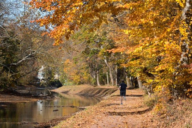 Le sentier de 60 miles dans le Delaware Canal State Park servait autrefois de chemin de halage du canal entre Easton et Bristol.  Les mois d'automne offrent des vues spectaculaires sur le feuillage tout en parcourant un morceau de l'histoire de la Pennsylvanie.  Le seul canal encore intact de l'époque du grand chemin de halage du début du milieu du 19e siècle, le canal du Delaware contient un chemin historique, de nombreux kilomètres de rivage de la rivière et 11 îles.