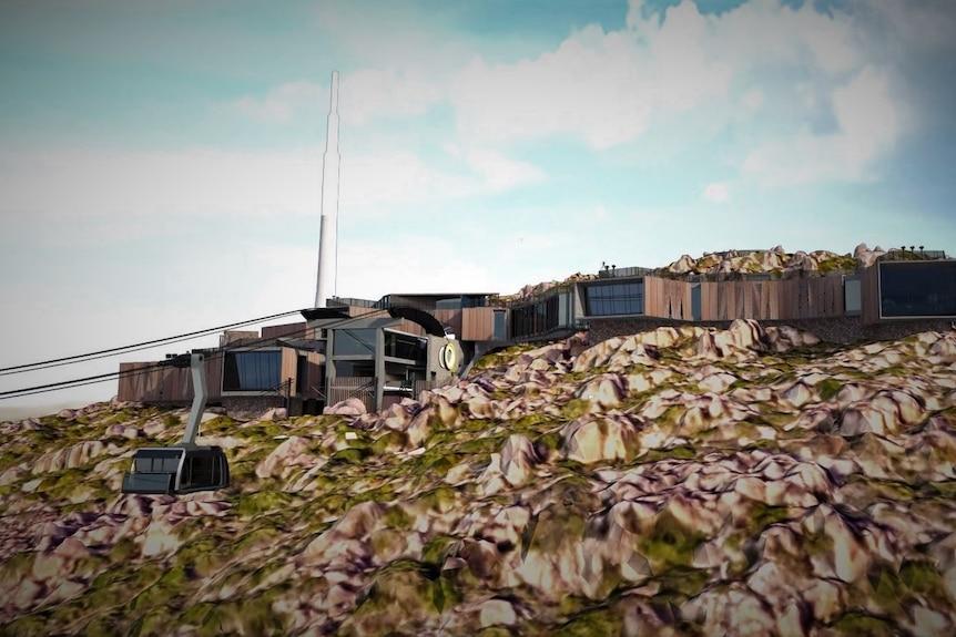 Vue d'artiste d'un développement de téléphérique sur une montagne.