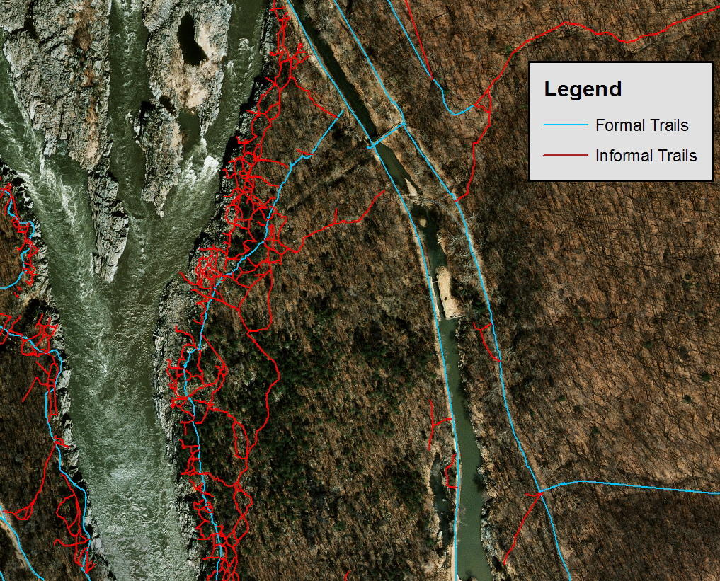 Les recherches de l'USGS ont documenté ces sentiers informels créés par le trafic de visiteurs hors sentier